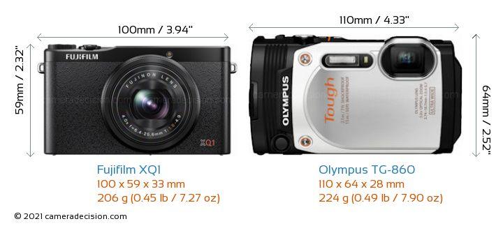 Fujifilm XQ1 vs Olympus TG-860 Camera Size Comparison - Front View