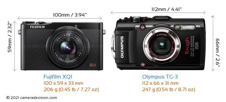 Fujifilm XQ1 vs Olympus TG-3 Camera Size Comparison - Front View