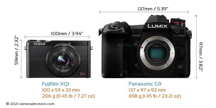 Fujifilm XQ1 vs Panasonic G9 Camera Size Comparison - Front View