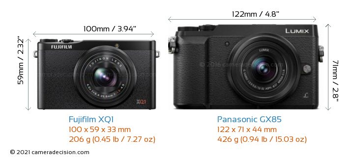 Fujifilm XQ1 vs Panasonic GX85 Camera Size Comparison - Front View