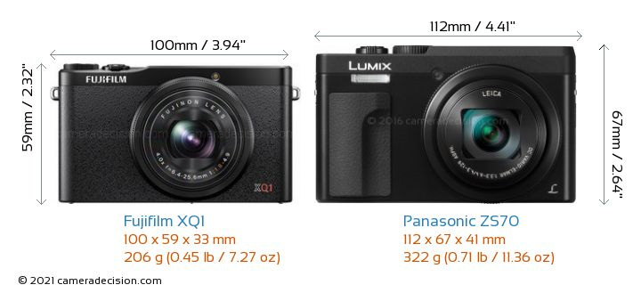 Fujifilm XQ1 vs Panasonic ZS70 Camera Size Comparison - Front View