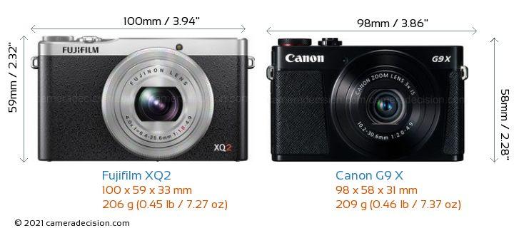 Fujifilm XQ2 vs Canon G9 X Camera Size Comparison - Front View