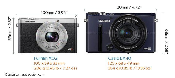 Fujifilm XQ2 vs Casio EX-10 Camera Size Comparison - Front View