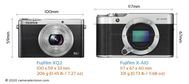 Fujifilm XQ2 vs Fujifilm X-A10 Camera Size Comparison - Front View