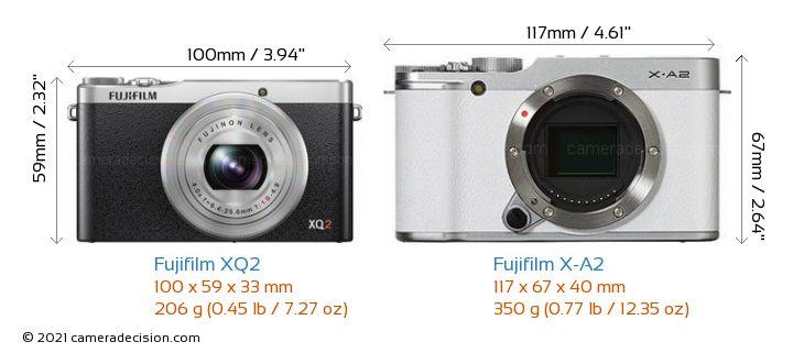 Fujifilm XQ2 vs Fujifilm X-A2 Camera Size Comparison - Front View