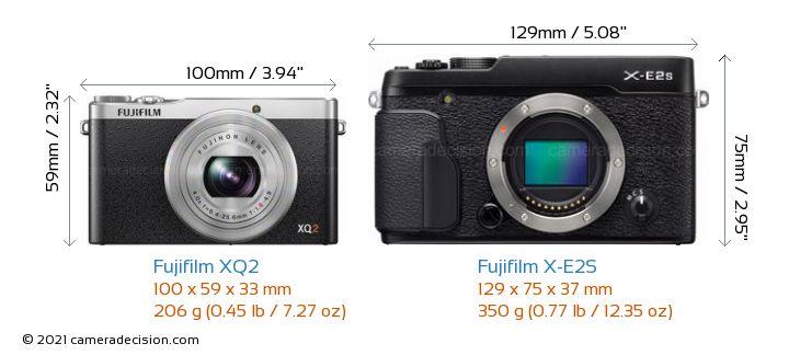 Fujifilm XQ2 vs Fujifilm X-E2S Camera Size Comparison - Front View