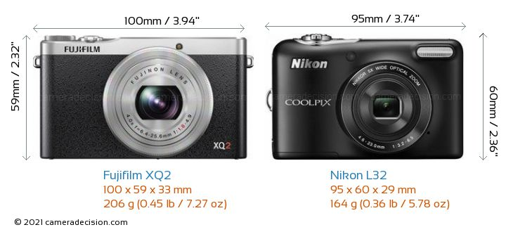 Fujifilm XQ2 vs Nikon L32 Camera Size Comparison - Front View