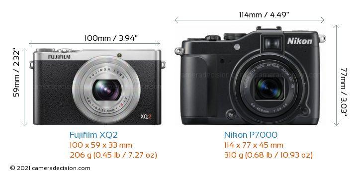 Fujifilm XQ2 vs Nikon P7000 Camera Size Comparison - Front View
