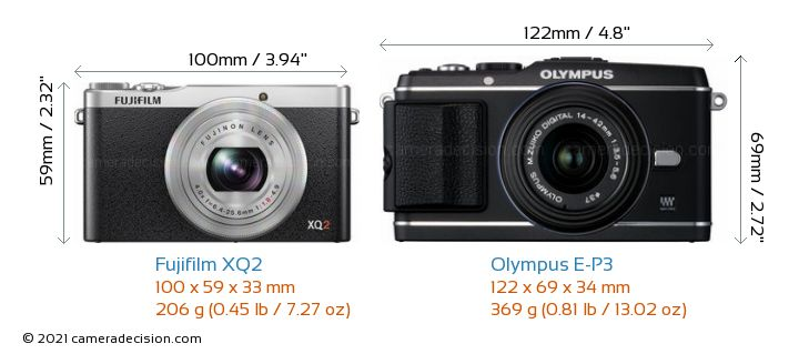 Fujifilm XQ2 vs Olympus E-P3 Camera Size Comparison - Front View