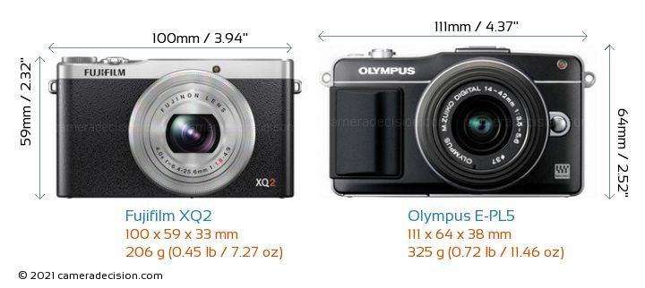 Fujifilm XQ2 vs Olympus E-PL5 Camera Size Comparison - Front View