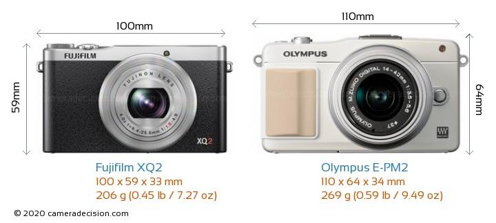 Fujifilm XQ2 vs Olympus E-PM2 Camera Size Comparison - Front View