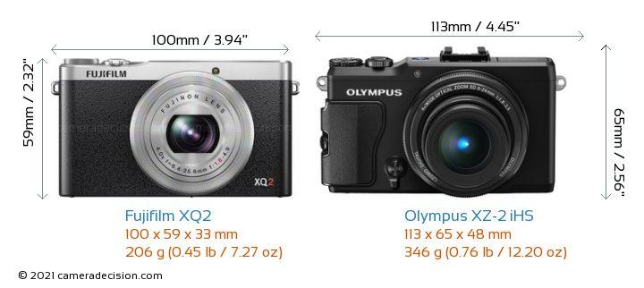 Fujifilm XQ2 vs Olympus XZ-2 iHS Camera Size Comparison - Front View