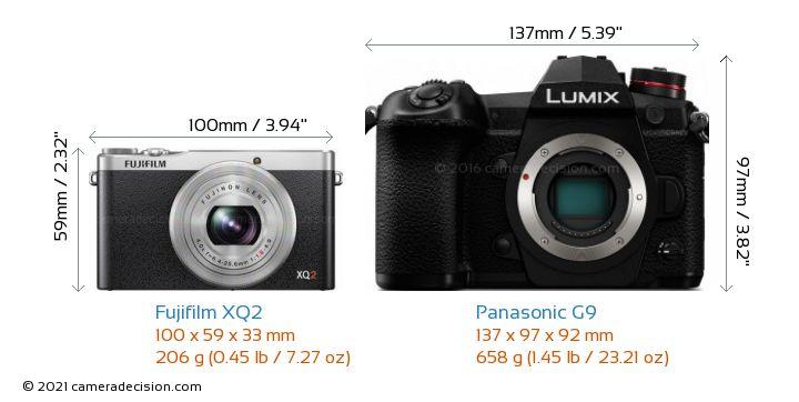 Fujifilm XQ2 vs Panasonic G9 Camera Size Comparison - Front View