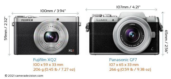 Fujifilm XQ2 vs Panasonic GF7 Camera Size Comparison - Front View