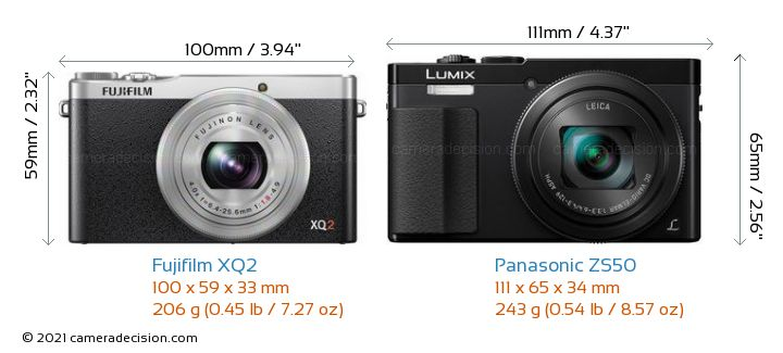 Fujifilm XQ2 vs Panasonic ZS50 Camera Size Comparison - Front View