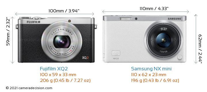 Fujifilm XQ2 vs Samsung NX mini Camera Size Comparison - Front View