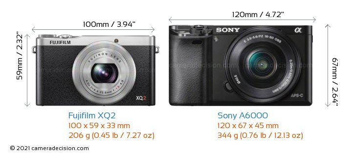 Fujifilm XQ2 vs Sony A6000 Camera Size Comparison - Front View