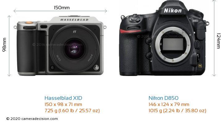 Hasselblad X1D vs Nikon D850 Camera Size Comparison - Front View