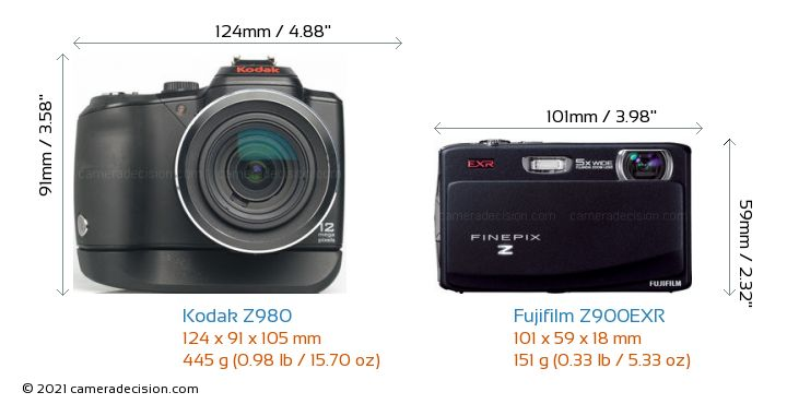 Kodak Z980 vs Fujifilm Z900EXR Camera Size Comparison - Front View