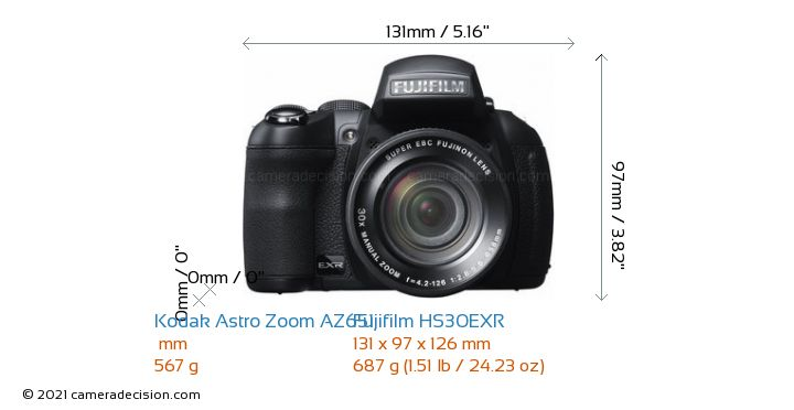 Kodak Astro Zoom AZ651 vs Fujifilm HS30EXR Camera Size Comparison - Front View
