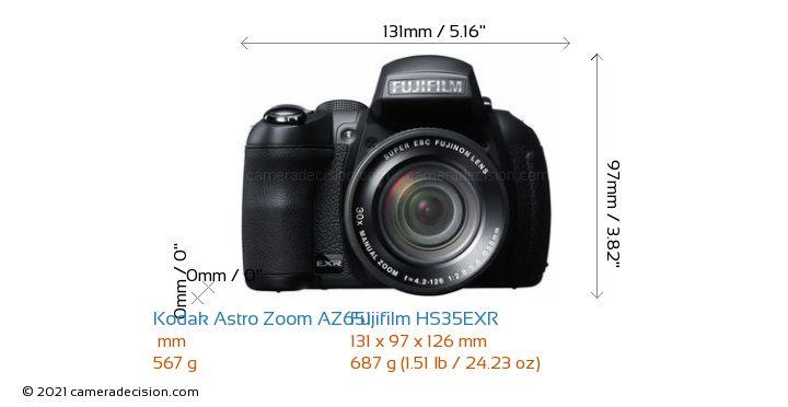 Kodak Astro Zoom AZ651 vs Fujifilm HS35EXR Camera Size Comparison - Front View
