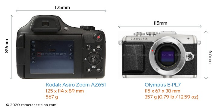 Kodak Astro Zoom AZ651 vs Olympus E-PL7 Camera Size Comparison - Front View