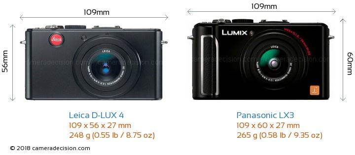 Leica D-LUX 4 vs Panasonic LX3 Camera Size Comparison - Front View