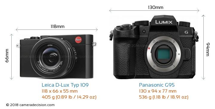 Leica D-Lux Typ 109 vs Panasonic G95 Camera Size Comparison - Front View