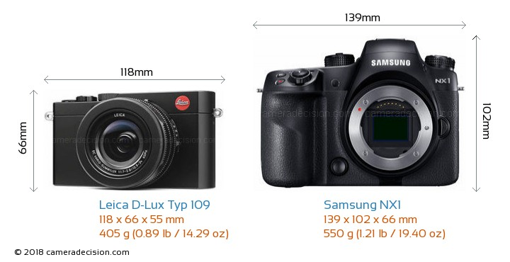 Leica D-Lux Typ 109 vs Samsung NX1 Camera Size Comparison - Front View