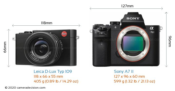 Leica D-Lux Typ 109 vs Sony A7 II Camera Size Comparison - Front View