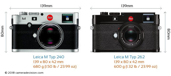 Leica M Typ 240 vs Leica M Typ 262 Camera Size Comparison - Front View