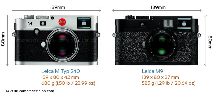 Leica M Typ 240 vs Leica M9 Camera Size Comparison - Front View