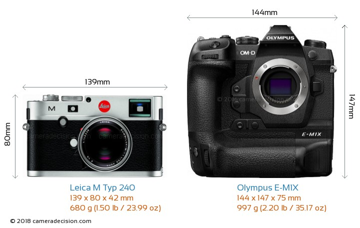 Leica M Typ 240 vs Olympus E-M1X Camera Size Comparison - Front View
