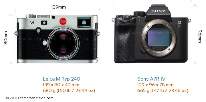 Leica M Typ 240 vs Sony A7R IV Camera Size Comparison - Front View