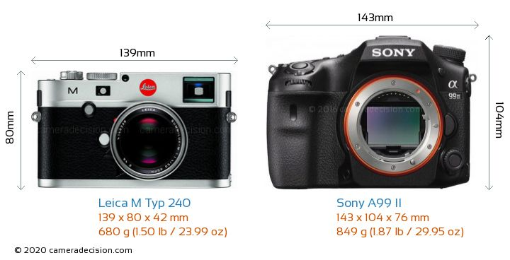 Leica M Typ 240 vs Sony A99 II Camera Size Comparison - Front View