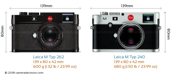 Leica M Typ 262 vs Leica M Typ 240 Camera Size Comparison - Front View