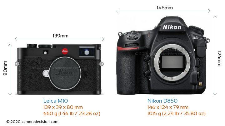 Leica M10 vs Nikon D850 Camera Size Comparison - Front View
