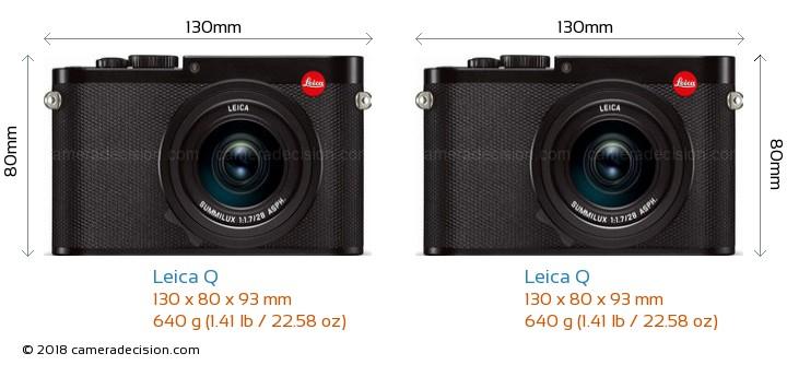 Leica Q vs Leica Q Camera Size Comparison - Front View
