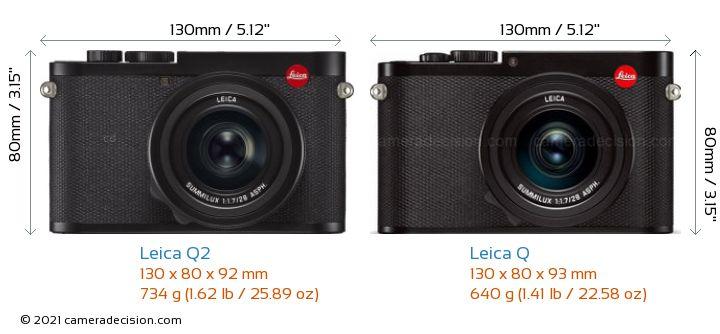 Leica Q2 vs Leica Q Camera Size Comparison - Front View