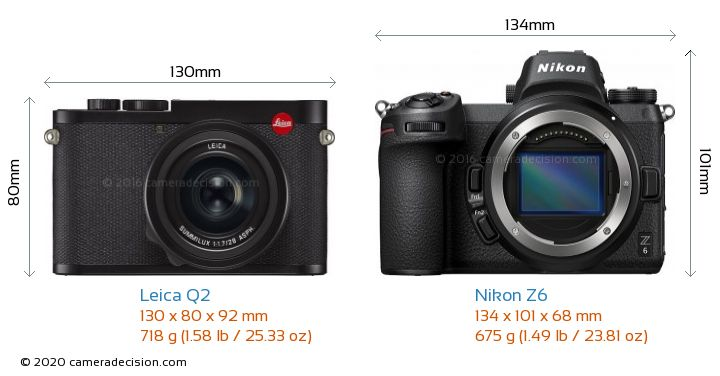 Leica Q2 vs Nikon Z6 Camera Size Comparison - Front View