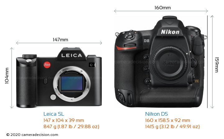 Leica SL vs Nikon D5 Camera Size Comparison - Front View