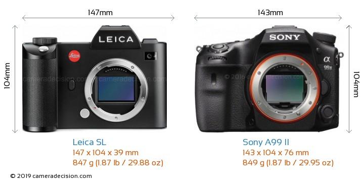 Leica SL vs Sony A99 II Camera Size Comparison - Front View