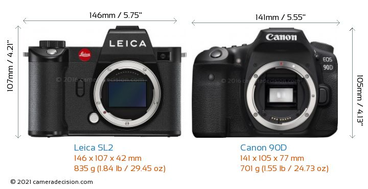 Leica SL2 vs Canon 90D Camera Size Comparison - Front View