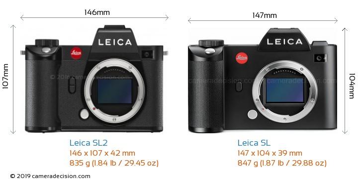 Leica SL2 vs Leica SL Camera Size Comparison - Front View