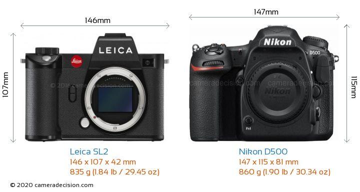 Leica SL2 vs Nikon D500 Camera Size Comparison - Front View