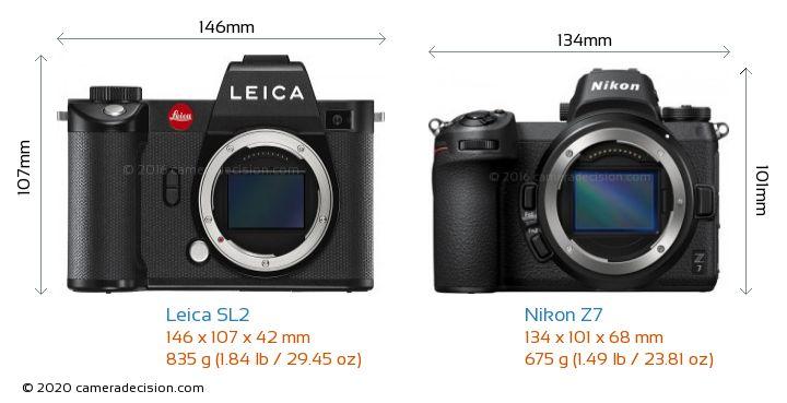 Leica SL2 vs Nikon Z7 Camera Size Comparison - Front View