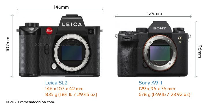 Leica SL2 vs Sony A9 II Camera Size Comparison - Front View
