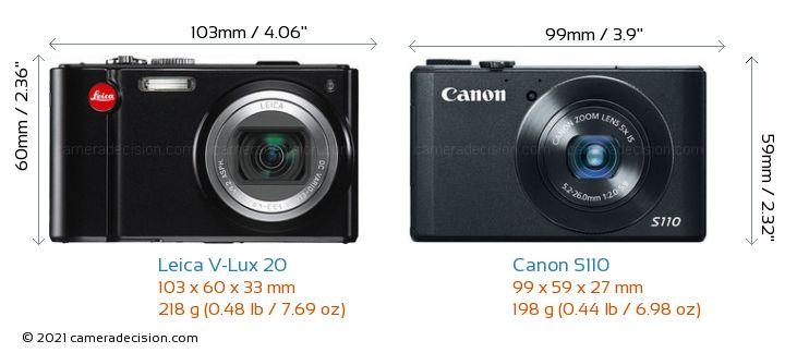 Leica V-Lux 20 vs Canon S110 Camera Size Comparison - Front View