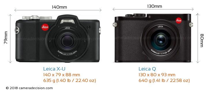 Leica X-U vs Leica Q Camera Size Comparison - Front View