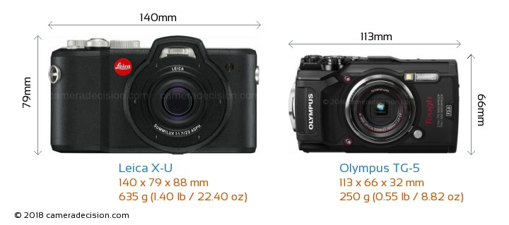 Leica X-U vs Olympus TG-5 Camera Size Comparison - Front View
